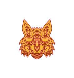 Coyote Head Sunglasses Smiling Mono Line vector image vector image
