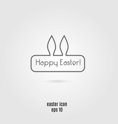 happy easter line icon banner with rabbit vector image vector image