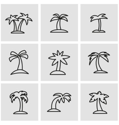 line palm icon set vector image