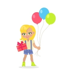 Young Girl with Balloons and Present Box Isolated vector image
