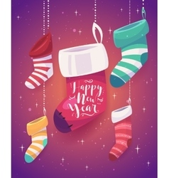 5 socks for gifts the new year vector image vector image