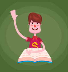 a brunette schoolboy a student sits behind a book vector image