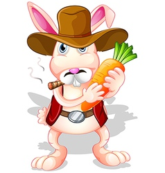 A rabbit holding a carrot with a hat and a vector image vector image