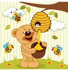 Tteddy bear takes honey bees vector