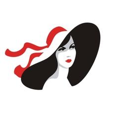 Fashionable woman portrait in big hat vector image vector image