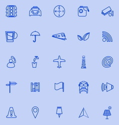 Map sign line icons on blue background vector image