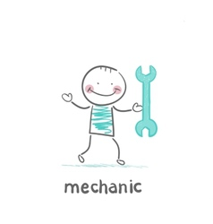 mechanic holding a green key vector image vector image