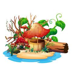 mushroom well on island vector image