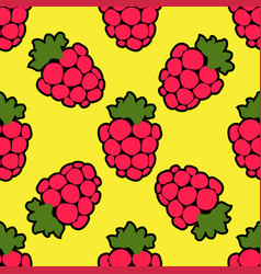 seamless raspberry background yellow pattern vector image vector image