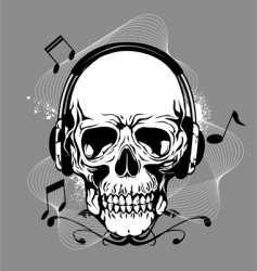 skull with headphone vector image vector image