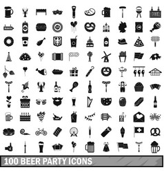 100 beer party icons set simple style vector