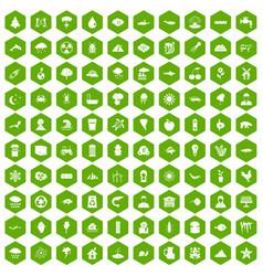 100 earth icons hexagon green vector image