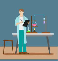 A chemist or an assistant writes down results vector
