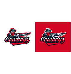 a set of logos of a cowboy shooting from a vector image