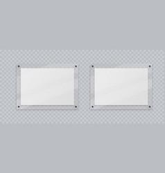Acrylic frame mockup two horizontal glass plate vector
