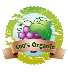 An organic label with fresh grapes vector