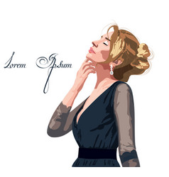 beautiful woman in a black dress passion vector image