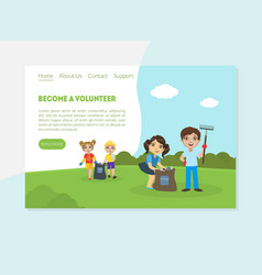 Become a volunteer banner landing page template vector