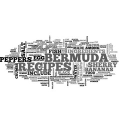 Bermuda recipes text word cloud concept vector