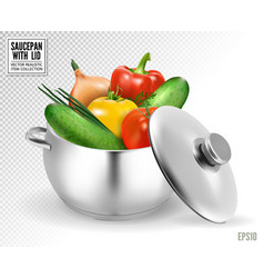 Big red pot for soup with vegetables realistic vector