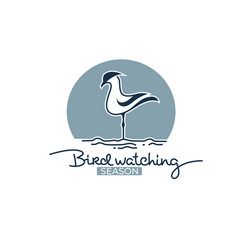 bird watching logo label emblem for your outdoor vector image