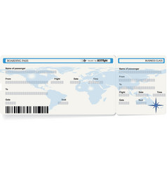 Blue template of boarding pass ticket vector