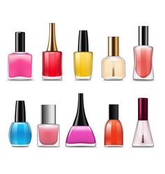 Bottles nail polish varnish enamel manicure vector