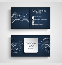 Business card with printed circuit board in blue vector