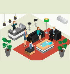 Business meeting in the hotel lobby or bank vector