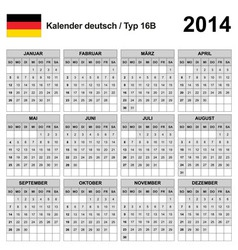 Calendar 2014 German Type 16 vector image