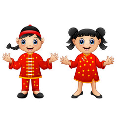 cartoon chinese kids vector image