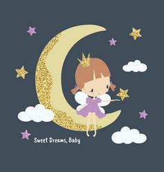 cartoon cute little princess fairy on moon vector image