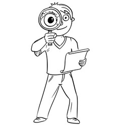 Cartoon of boy with hand magnifying glass vector