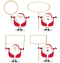 cartoon santas holding blank signs vector image