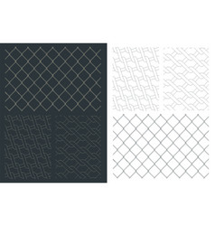 Chain link fence drawings mini set vector