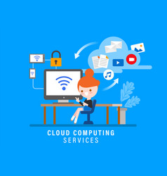 cloud computing services online security concept vector image