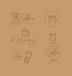 coffee pen line elements beige vector image