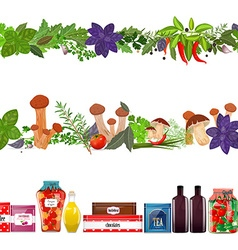 collection seamless borders with food vegetables vector image