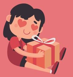 Crazy heart eyes girl holding a present vector
