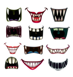 Creppy fantasy monsters mouth set scary vector
