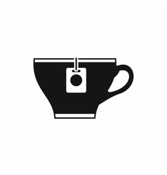 Cup with teabag icon simple style vector image