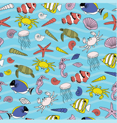 cute hand drawn underwater scenery seamless vector image