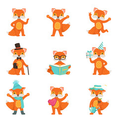 Cute little fox cartoon characters set for label vector