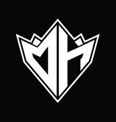 Dh logo monogram design template vector