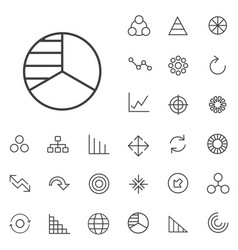 diagram outline thin flat digital icon set vector image