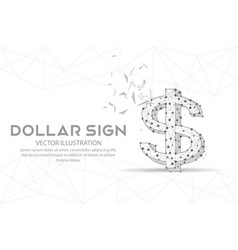 Dollar sign digitally drawn low poly wire frame vector