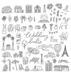 doodle wedding icon set with decorative elements vector image