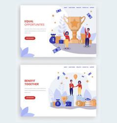 equal benefits website landing page vector image