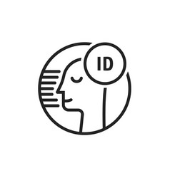 face id black thin line icon vector image