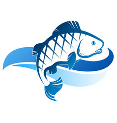 Fish on blue wave silhouette vector